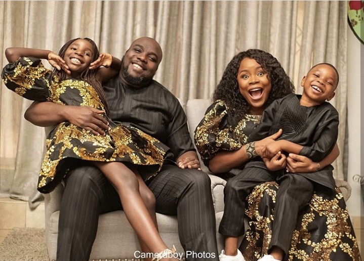 Omawumi says as she shares rare photos of her husband and their kids